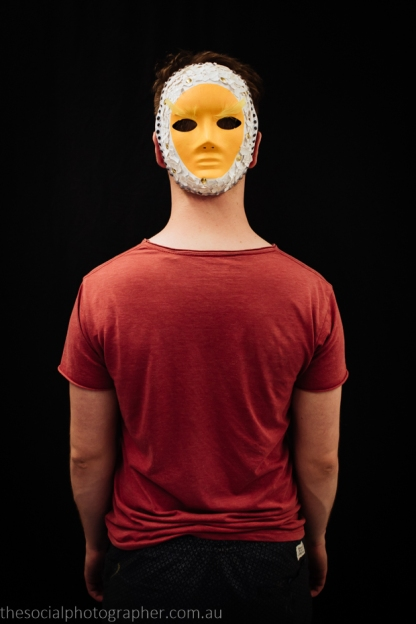 James Conlan: My mask, entitled Breaking Out, symbolises the gay struggle. The inner yellow is the egg yolk, the shells represent the barriers we face, which is slowly splitting and breaking apart. The outward eyes show that, despite out challenges, we are looking outwards and forwards.