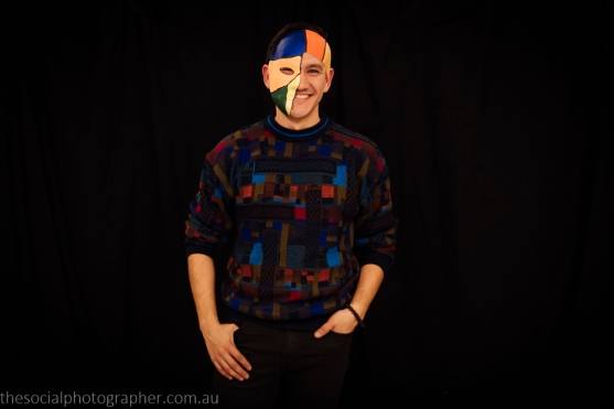 Luis: My mask tells the story that before coming out, myself and others would hide their truth behind different aspects of their life that people would appreciate more than being gay.